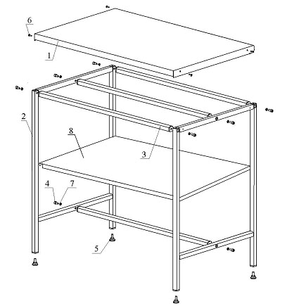 Схемы сборки столов.